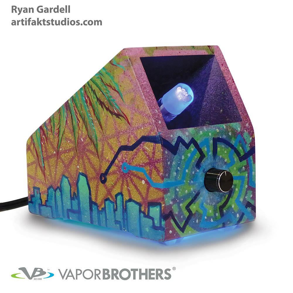 RYAN GARDELL Art Vaporbrothers Vaporizer - Hands Free - 120V RYAN GARDELL, art, vapor art, visionary art, vapor brothers hands free vaporizer, whip, vaporbrothers, handsfree, box vaporizer, vaporbox, ceramic, glass pipes